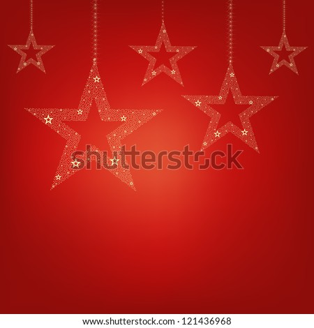 Christmas Red Card Christmas Stars With Gradient Mesh, Vector Illustration - stock vector