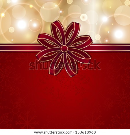 christmas red card template with bow vector background for design - stock vector