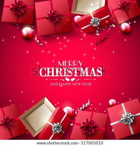 Christmas red gift boxes and baubles on red background - Luxury Christmas greeting card