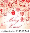 Christmas red greeting card - stock