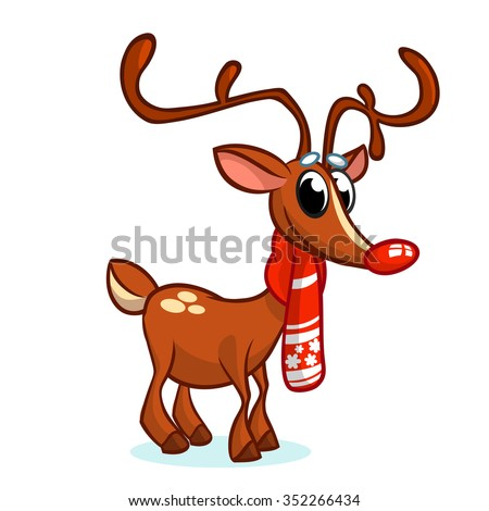 Christmas red nose reindeer rudolph in Santa hat vector illustration on snowy background - stock vector