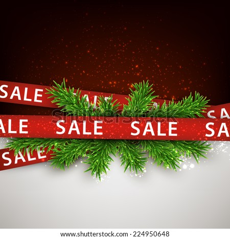 Christmas red sale ribbons over spruce branches. Vector winter illustration. - stock vector