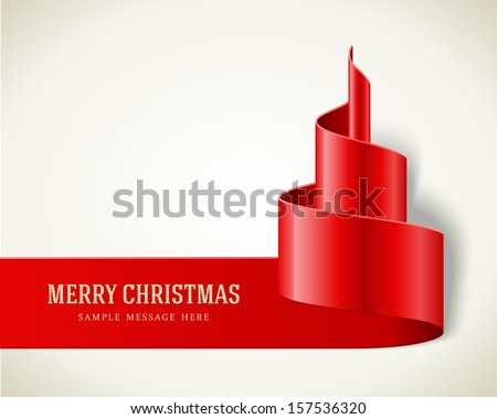 Christmas red tree from ribbon background. Vector illustration Eps 10.  - stock vector
