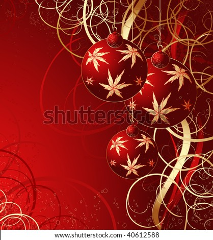 Christmas red vector background with balls and snowflakes
