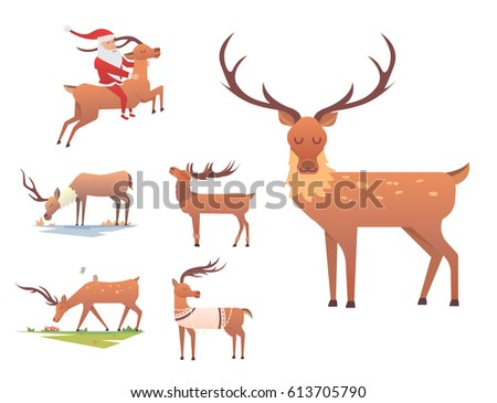christmas reindeer holiday mammal deer xmas stock vector royalty
