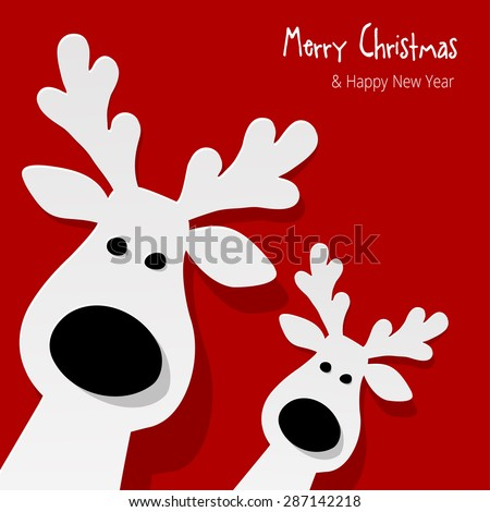 Christmas Reindeer on a red background - stock vector