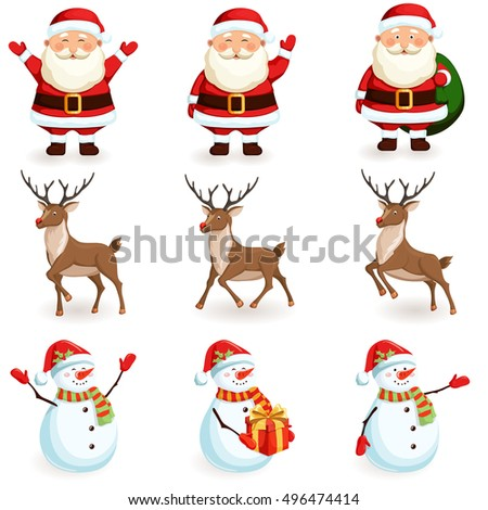 Christmas reindeer, santa, snowman set. Cartoon holiday moving characters. Jump Reindeer, Santa Claus with bag, snowman with gift vector illustration. Cute cartoon reindeer, santa, snowman