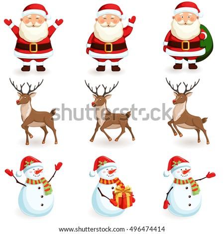 Christmas reindeer, santa, snowman set. Cartoon holiday moving characters vector illustration.