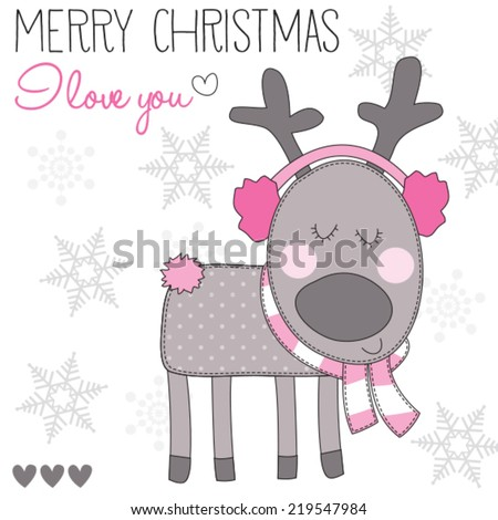 Christmas reindeer with ear muffs vector illustration - stock vector