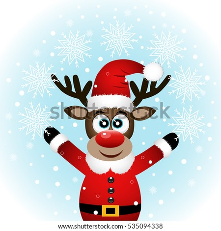 Christmas reindeer with snowflakes. Funny reindeer in a Santa suit. Vector illustration.