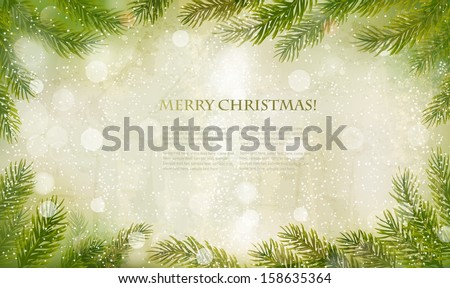 Christmas retro background with christmas tree branches. Vector.  - stock vector