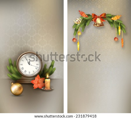 Christmas retro banners with vintage clock candle, poinsettias, Christmas tree branches, Xmas ornaments, bell - stock vector