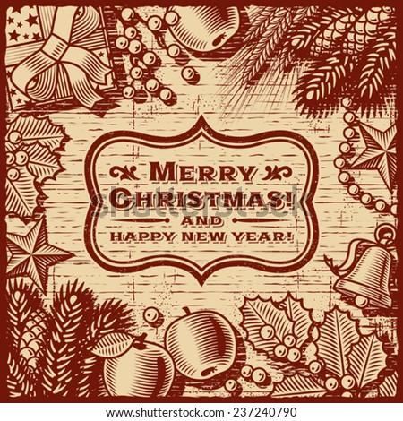 Christmas Retro Card Brown. Fully editable vector. - stock vector