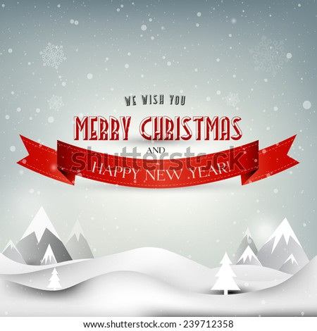 Christmas retro greeting card, Christmas background, Christmas vector Landscape, Winter postcard, Happy New Year, Merry Christmas - stock vector