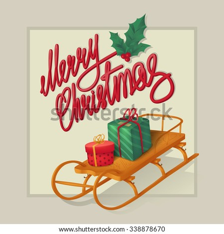 christmas retro greeting card with sledge and gifts  - stock vector