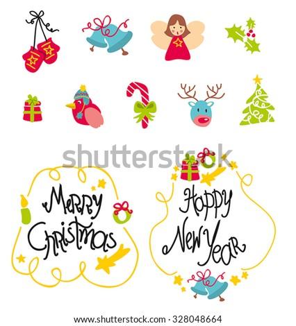 Christmas retro icons - stock vector
