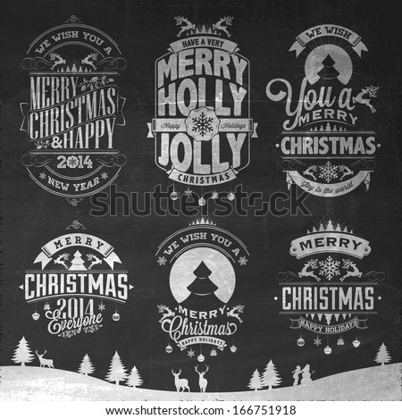 Christmas Retro Icons, Elements And Illustration Set On  Blackboard With Chalk - stock vector