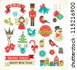 Christmas retro icons, elements and illustrations - stock photo