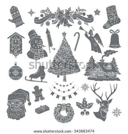 Christmas retro icons, elements and illustrations. Happy new Year.Vector. Isolated