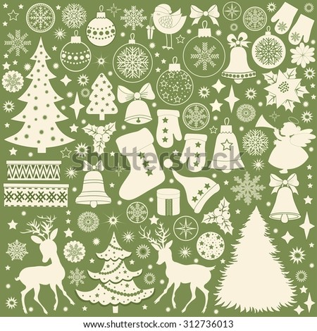 Christmas retro icons, set of Christmas elements on green background