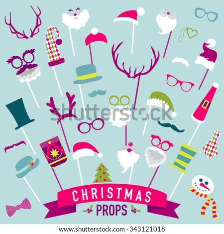 Christmas Retro Party set - Photo booth Props - in vector - stock vector