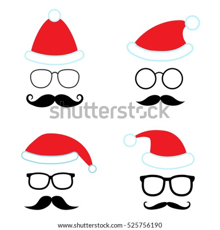 Christmas retro party vector set for photo booth