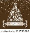 Christmas retro postcard - stock vector
