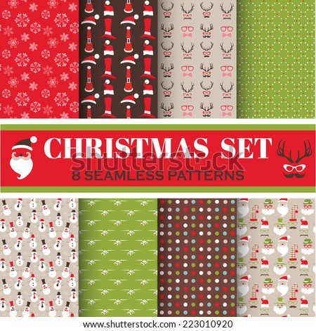 Christmas Retro Set - 8 seamless patterns - for design, photo booth in vector - stock vector