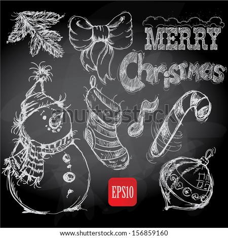Christmas retro sketch doodles on chalkboard background - stock vector