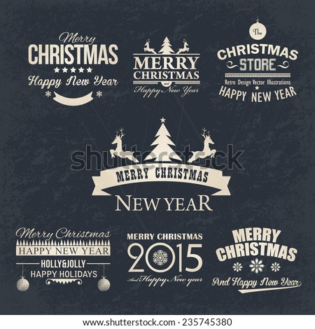 Christmas Retro Style Badge, Banners, Cards Vector Design on Grunge Background  - stock vector