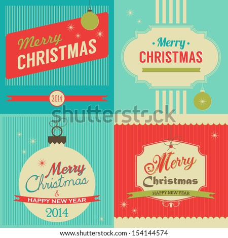 Christmas retro style greeting card set. Vector illustration - stock vector
