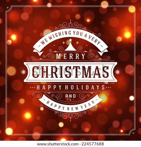Christmas retro typographic and light background. Merry Christma - stock vector