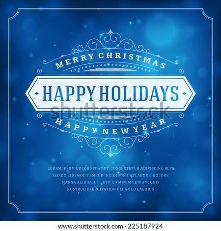 Christmas retro typography and light background. Merry Christmas holidays wish greeting card design and vintage ornament decoration. Happy new year message. Vector illustration. - stock vector