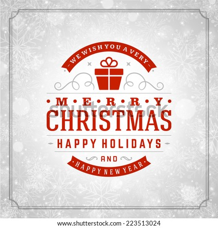 Christmas retro typography and light with winter snowflakes. Merry Christmas holidays wish greeting card design and vintage ornament decoration. Happy new year message. Vector background Eps 10. - stock vector