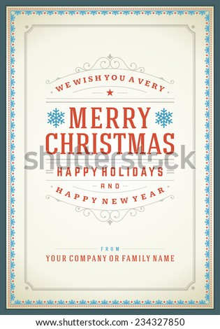 Christmas retro typography and ornament decoration. Merry Christmas holidays wish greeting card design and vintage background. Happy new year message. Vector illustration. - stock vector