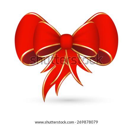 Christmas Ribbon Bow Stock Vector 269878079 - Shutterstock