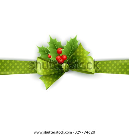 Christmas ribbon decoration with holly and polka dots green bow in white background - stock vector