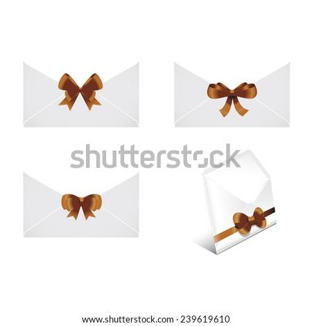 christmas ribbon envelope set - stock vector
