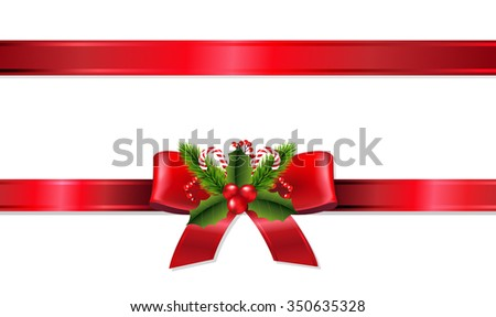 Christmas Ribbon With Gradient Mesh, Vector Illustration - stock vector