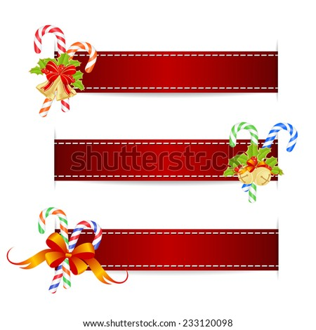 Christmas ribbons with christmas decorations. Vector illustration. - stock vector