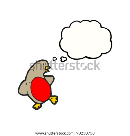christmas robin with thought bubble cartoon
