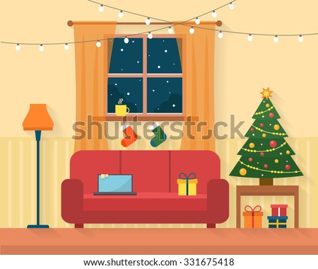 Christmas room interior. Christmas tree, gift and decoration. Flat style vector illustration. - stock vector