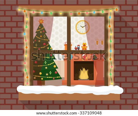 Christmas room with furniture, christmas tree and fireplace through the window with lights and decoration. Flat style vector illustration. - stock vector