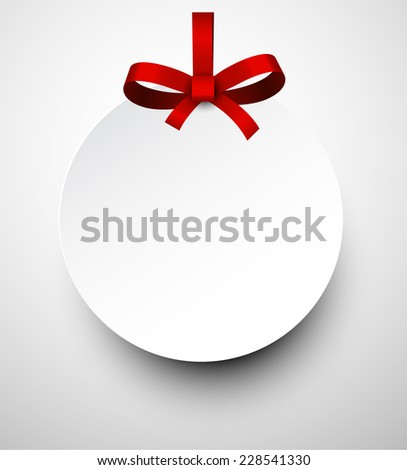 Christmas round gift card with red ribbon and satin bow. Vector illustration. - stock vector