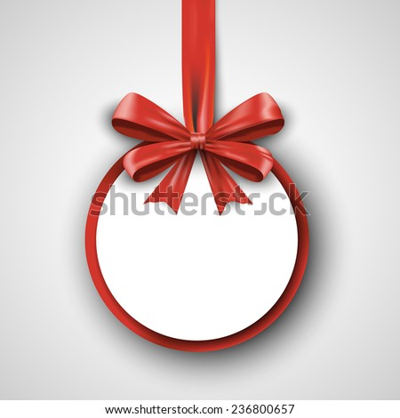 Christmas round gift card with red ribbon and satin bow. Vector illustration EPS10