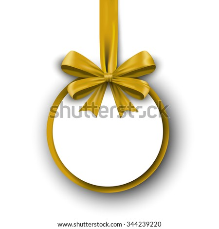 Christmas round gift card with red ribbon and satin bow. Vector illustration EPS10 - stock vector
