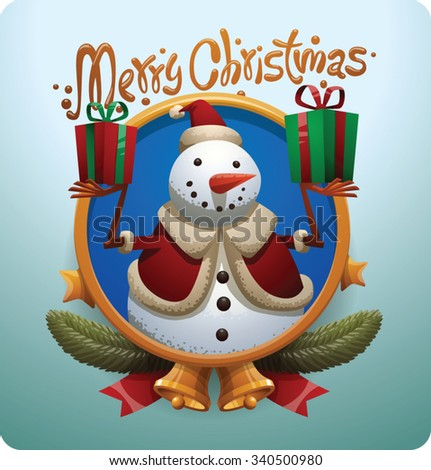 Christmas round gold label with stars bells and Christmas snowman in christmas hat holding two gift boxes, vector - stock vector