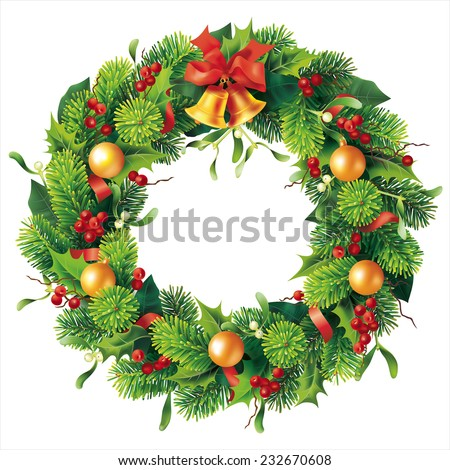 Christmas round wreath on white. Vector eps 10. - stock vector