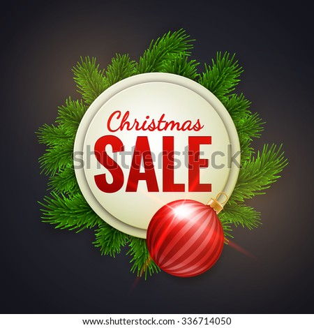 Christmas sale advertising white banner decorated with fir branches and red bauble, winter sale, Christmas, New Year design, vector illustration - stock vector