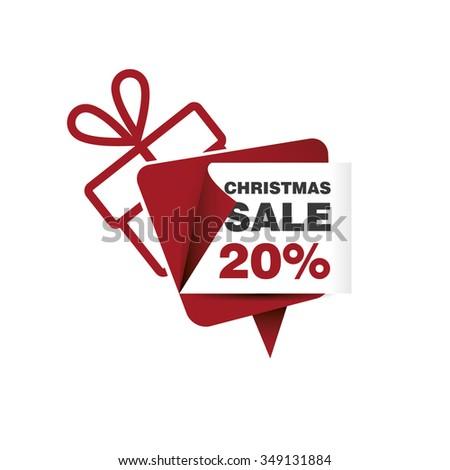 Christmas sale 20% and gift box - stock vector